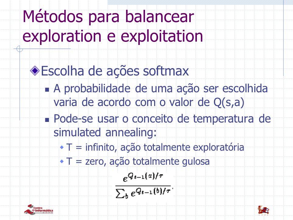 25 Métodos para balancear exploration e exploitation Escolha de ações softmax A probabilidade de uma ação ser escolhida varia de acordo com o valor de