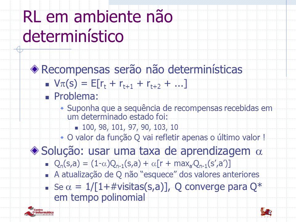 26 RL em ambiente não determinístico Recompensas serão não determinísticas V (s) = E[r t + r t+1 + r t+2 +...] Problema: Suponha que a sequência de re