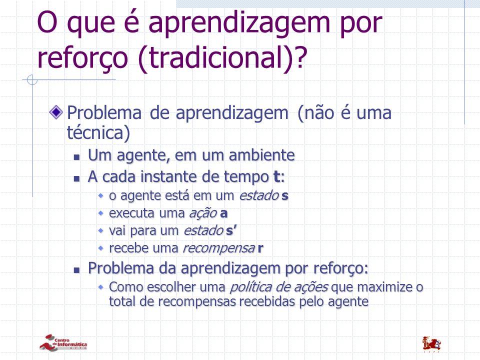 3 O que é aprendizagem por reforço (tradicional)? Problema de aprendizagem (não é uma técnica) Um agente, em um ambiente Um agente, em um ambiente A c
