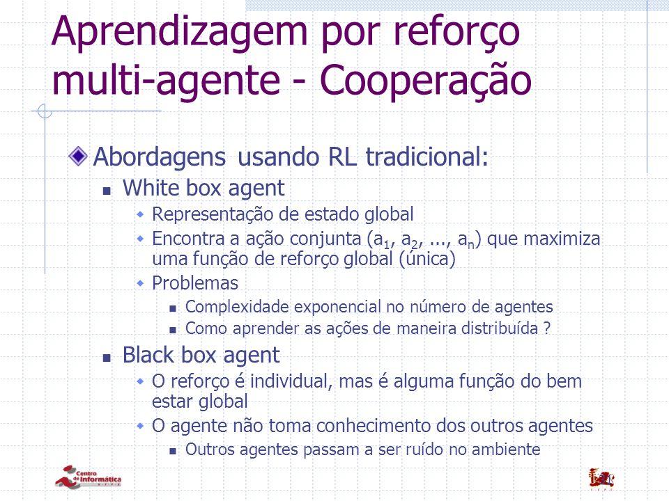 31 Aprendizagem por reforço multi-agente - Cooperação Abordagens usando RL tradicional: White box agent Representação de estado global Encontra a ação