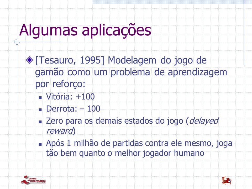 5 Algumas aplicações [Tesauro, 1995] Modelagem do jogo de gamão como um problema de aprendizagem por reforço: Vitória: +100 Derrota: – 100 Zero para o