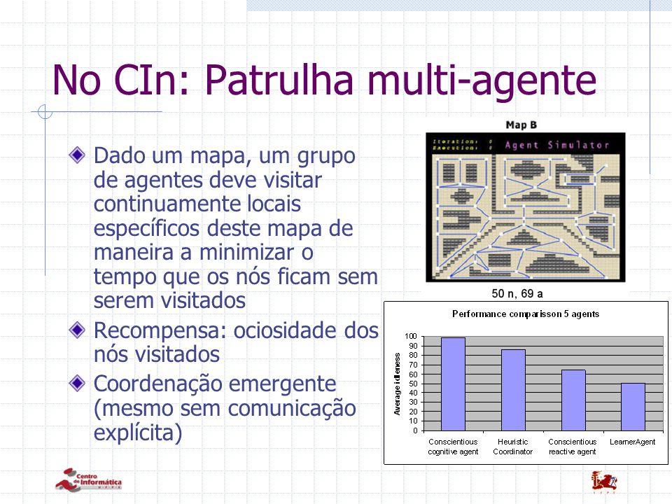 7 No CIn: Patrulha multi-agente Dado um mapa, um grupo de agentes deve visitar continuamente locais específicos deste mapa de maneira a minimizar o te
