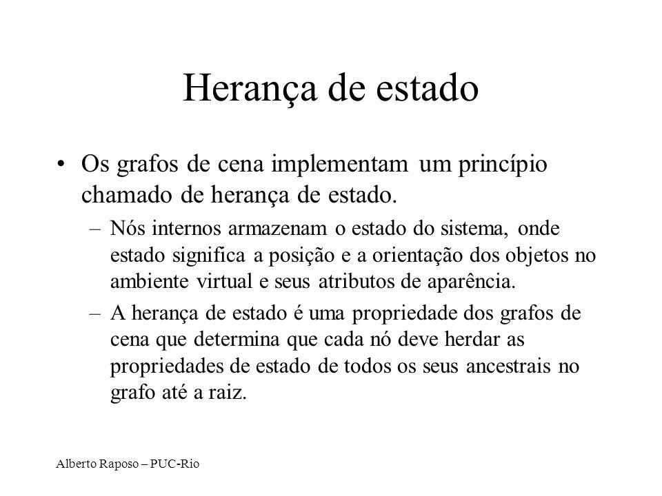 Alberto Raposo – PUC-Rio Herança de estado Os grafos de cena implementam um princípio chamado de herança de estado.