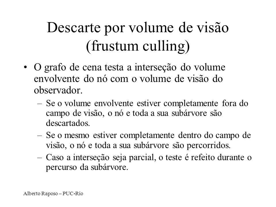 Alberto Raposo – PUC-Rio Descarte por volume de visão (frustum culling) O grafo de cena testa a interseção do volume envolvente do nó com o volume de visão do observador.
