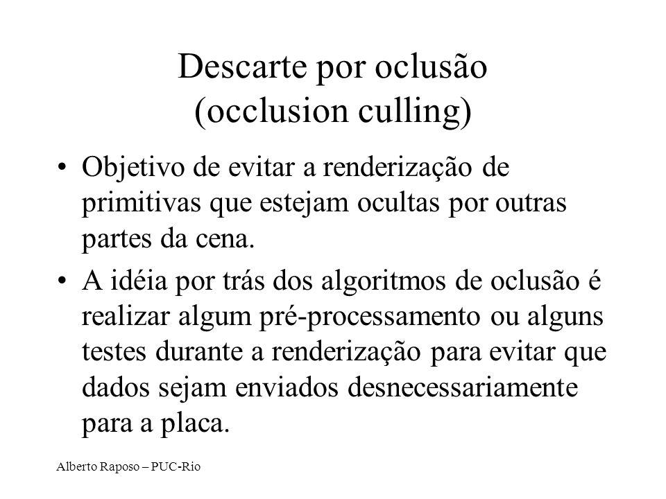 Alberto Raposo – PUC-Rio Descarte por oclusão (occlusion culling) Objetivo de evitar a renderização de primitivas que estejam ocultas por outras partes da cena.