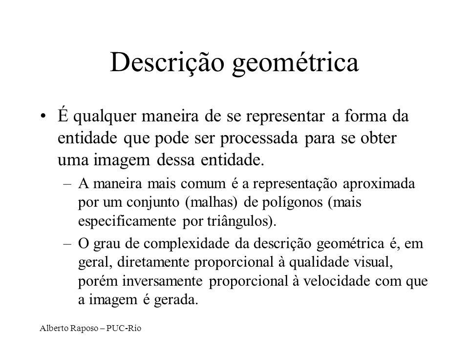 Alberto Raposo – PUC-Rio Descrição geométrica É qualquer maneira de se representar a forma da entidade que pode ser processada para se obter uma imagem dessa entidade.