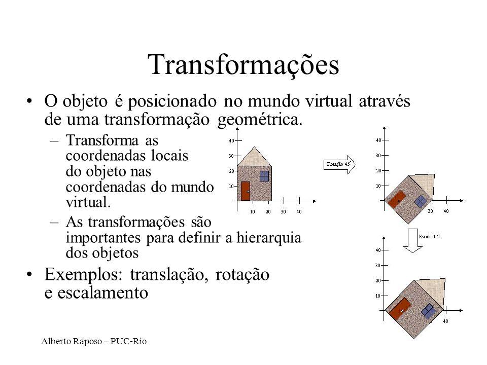 Alberto Raposo – PUC-Rio Transformações O objeto é posicionado no mundo virtual através de uma transformação geométrica.