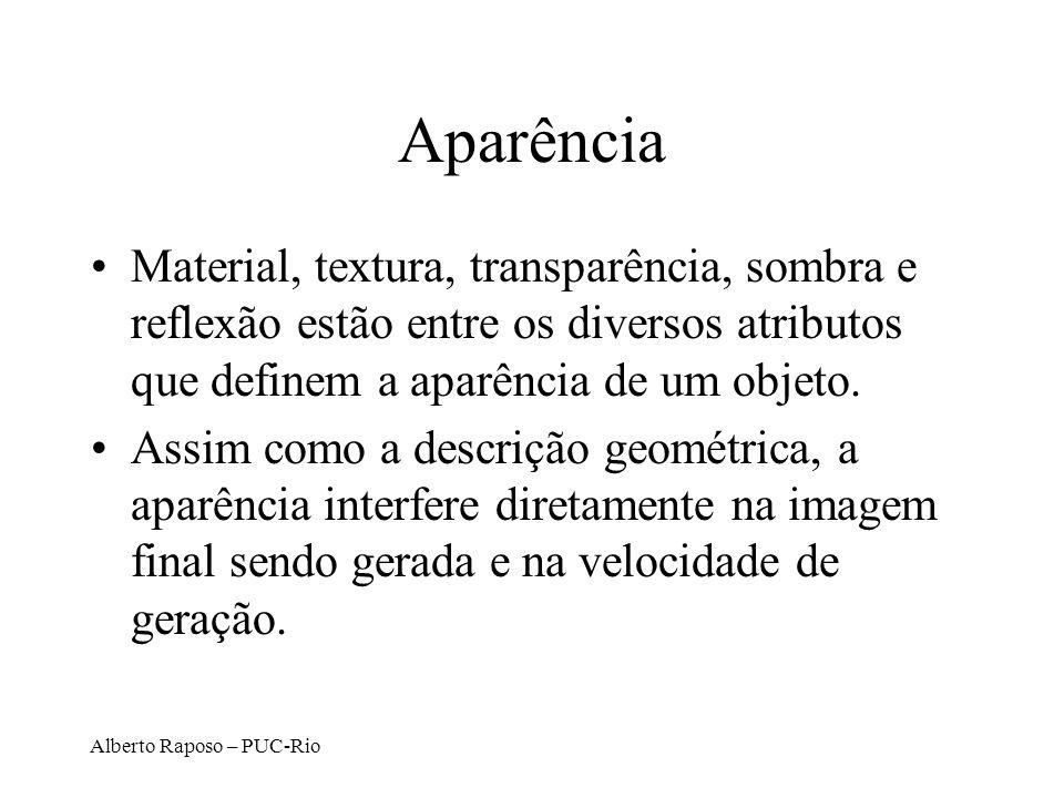 Alberto Raposo – PUC-Rio Aparência Material, textura, transparência, sombra e reflexão estão entre os diversos atributos que definem a aparência de um objeto.