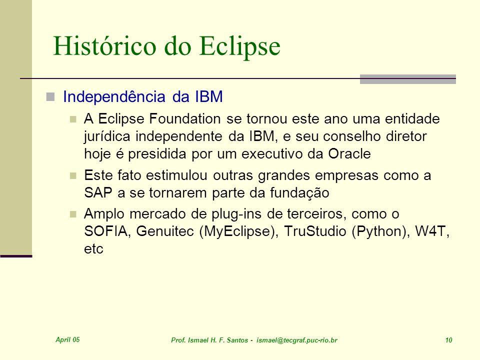 April 05 Prof. Ismael H. F. Santos - ismael@tecgraf.puc-rio.br 10 Histórico do Eclipse Independência da IBM A Eclipse Foundation se tornou este ano um