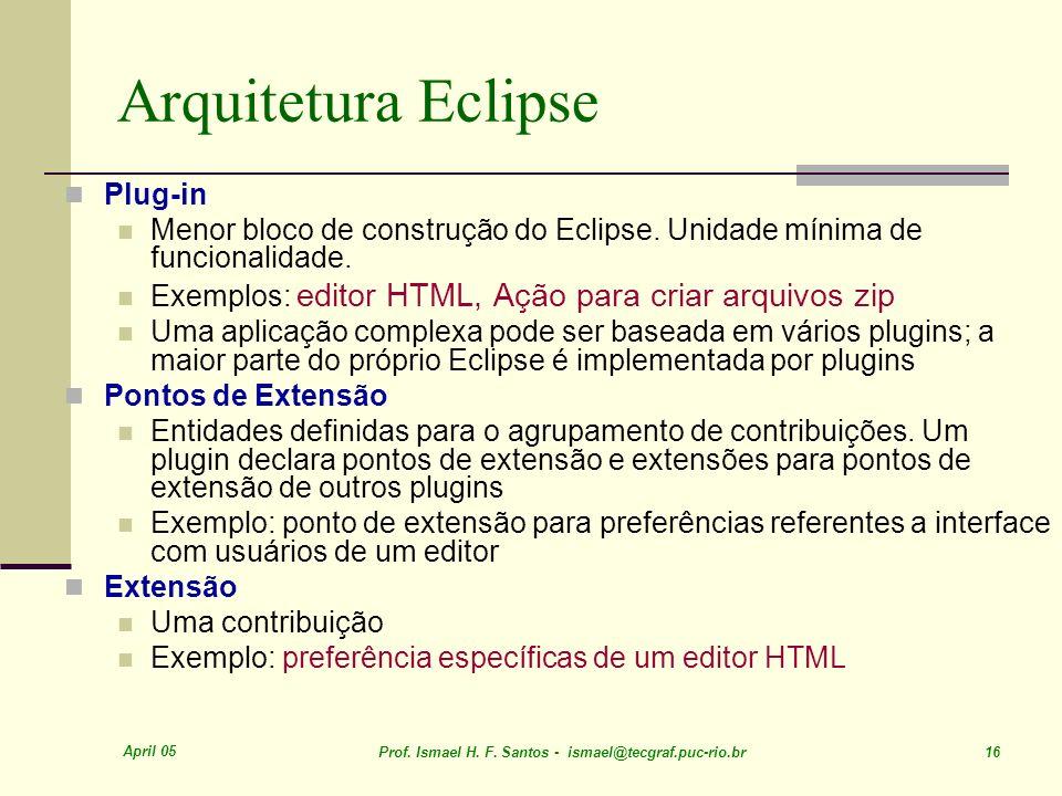 April 05 Prof. Ismael H. F. Santos - ismael@tecgraf.puc-rio.br 16 Arquitetura Eclipse Plug-in Menor bloco de construção do Eclipse. Unidade mínima de