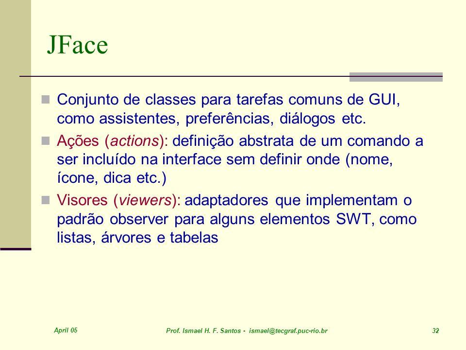 April 05 Prof. Ismael H. F. Santos - ismael@tecgraf.puc-rio.br 32 JFace Conjunto de classes para tarefas comuns de GUI, como assistentes, preferências