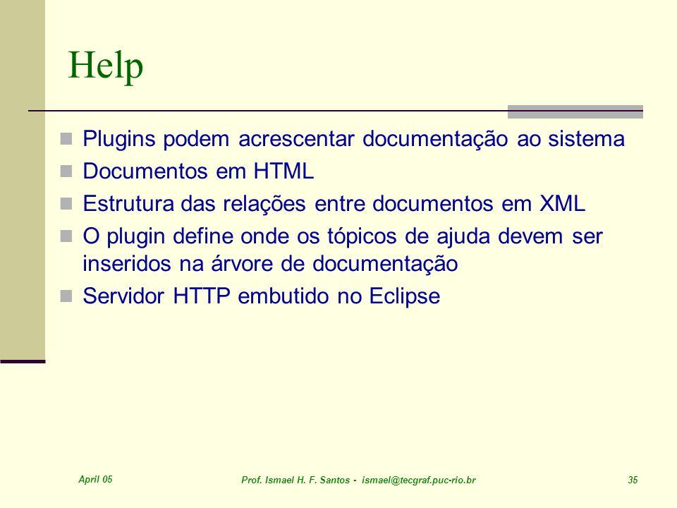 April 05 Prof. Ismael H. F. Santos - ismael@tecgraf.puc-rio.br 35 Help Plugins podem acrescentar documentação ao sistema Documentos em HTML Estrutura