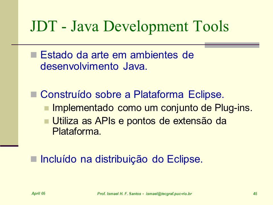 April 05 Prof. Ismael H. F. Santos - ismael@tecgraf.puc-rio.br 45 JDT - Java Development Tools Estado da arte em ambientes de desenvolvimento Java. Co