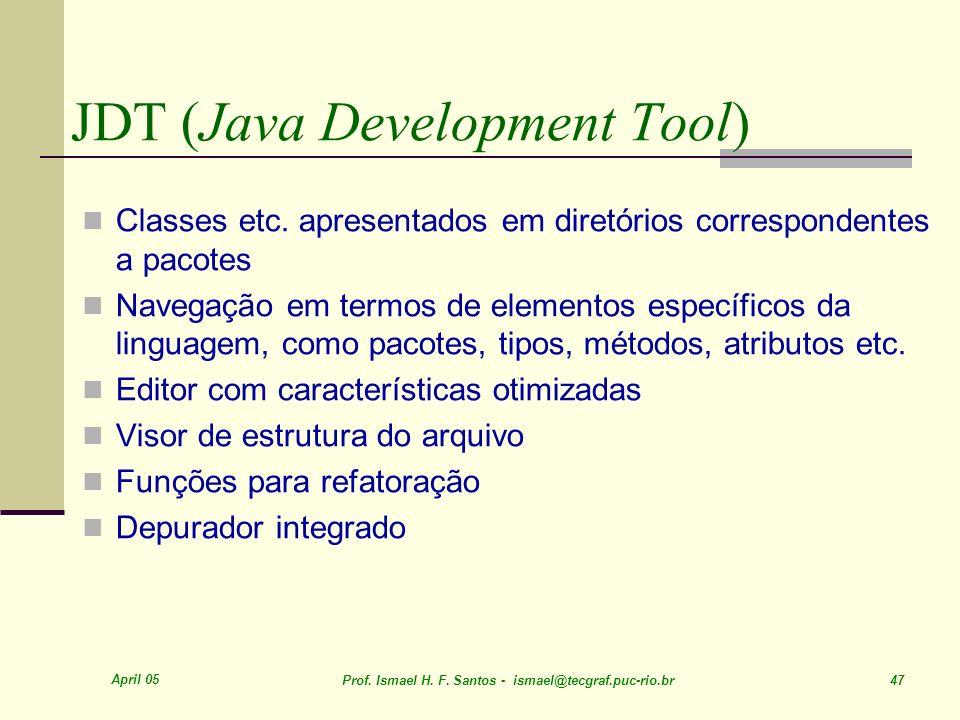 April 05 Prof. Ismael H. F. Santos - ismael@tecgraf.puc-rio.br 47 JDT (Java Development Tool) Classes etc. apresentados em diretórios correspondentes