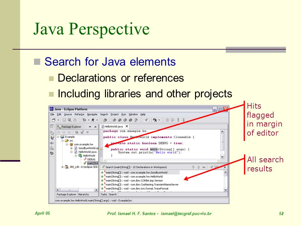 April 05 Prof. Ismael H. F. Santos - ismael@tecgraf.puc-rio.br 52 Java Perspective Search for Java elements Declarations or references Including libra