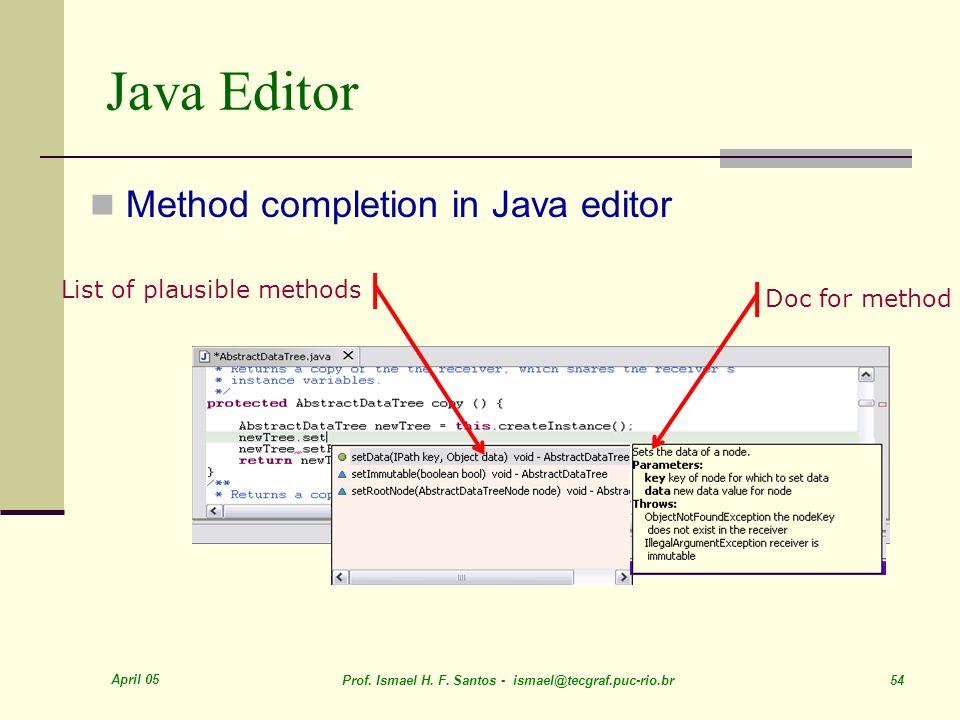 April 05 Prof. Ismael H. F. Santos - ismael@tecgraf.puc-rio.br 54 Java Editor Method completion in Java editor List of plausible methodsDoc for method