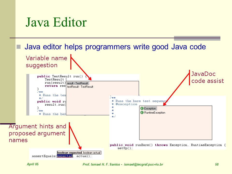 April 05 Prof. Ismael H. F. Santos - ismael@tecgraf.puc-rio.br 58 Java Editor Variable name suggestion Argument hints and proposed argument names Java