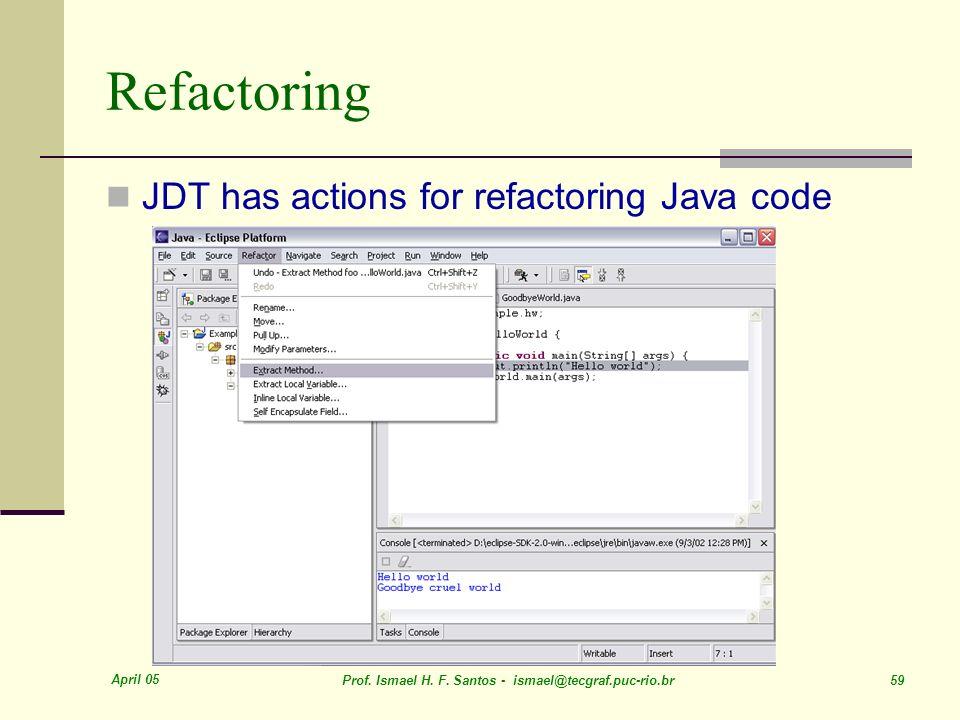 April 05 Prof. Ismael H. F. Santos - ismael@tecgraf.puc-rio.br 59 Refactoring JDT has actions for refactoring Java code