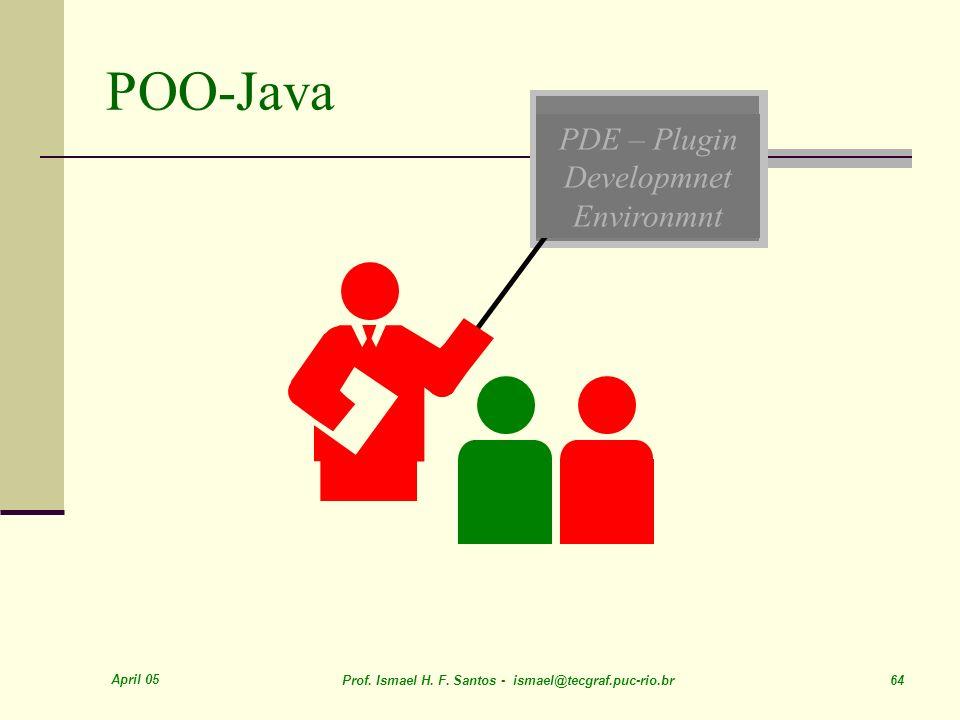 April 05 Prof. Ismael H. F. Santos - ismael@tecgraf.puc-rio.br 64 PDE – Plugin Developmnet Environmnt POO-Java