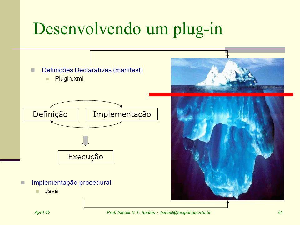 April 05 Prof. Ismael H. F. Santos - ismael@tecgraf.puc-rio.br 65 Desenvolvendo um plug-in Definições Declarativas (manifest) Plugin.xml DefiniçãoImpl