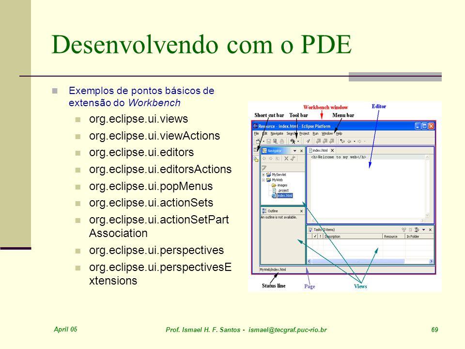 April 05 Prof. Ismael H. F. Santos - ismael@tecgraf.puc-rio.br 69 Desenvolvendo com o PDE Exemplos de pontos básicos de extensão do Workbench org.ecli