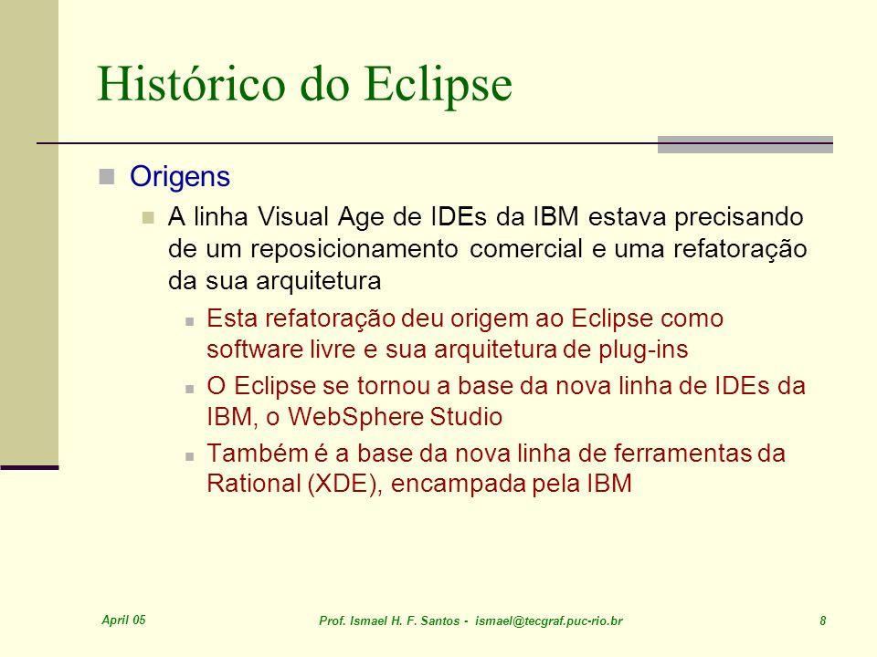 April 05 Prof. Ismael H. F. Santos - ismael@tecgraf.puc-rio.br 8 Histórico do Eclipse Origens A linha Visual Age de IDEs da IBM estava precisando de u