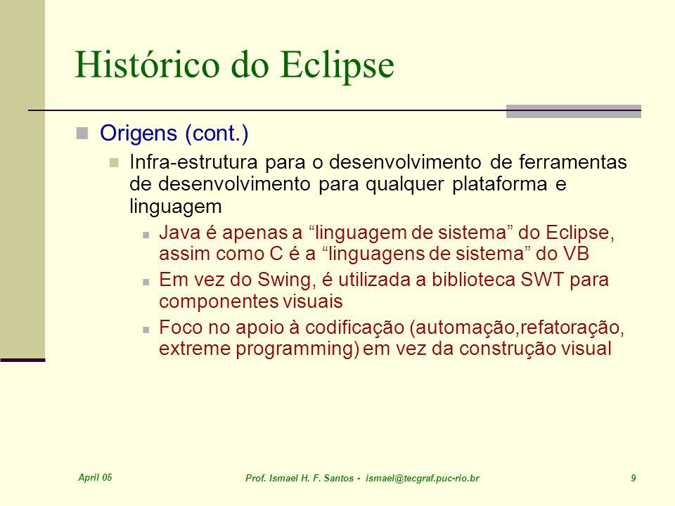 April 05 Prof. Ismael H. F. Santos - ismael@tecgraf.puc-rio.br 9 Histórico do Eclipse Origens (cont.) Infra-estrutura para o desenvolvimento de ferram