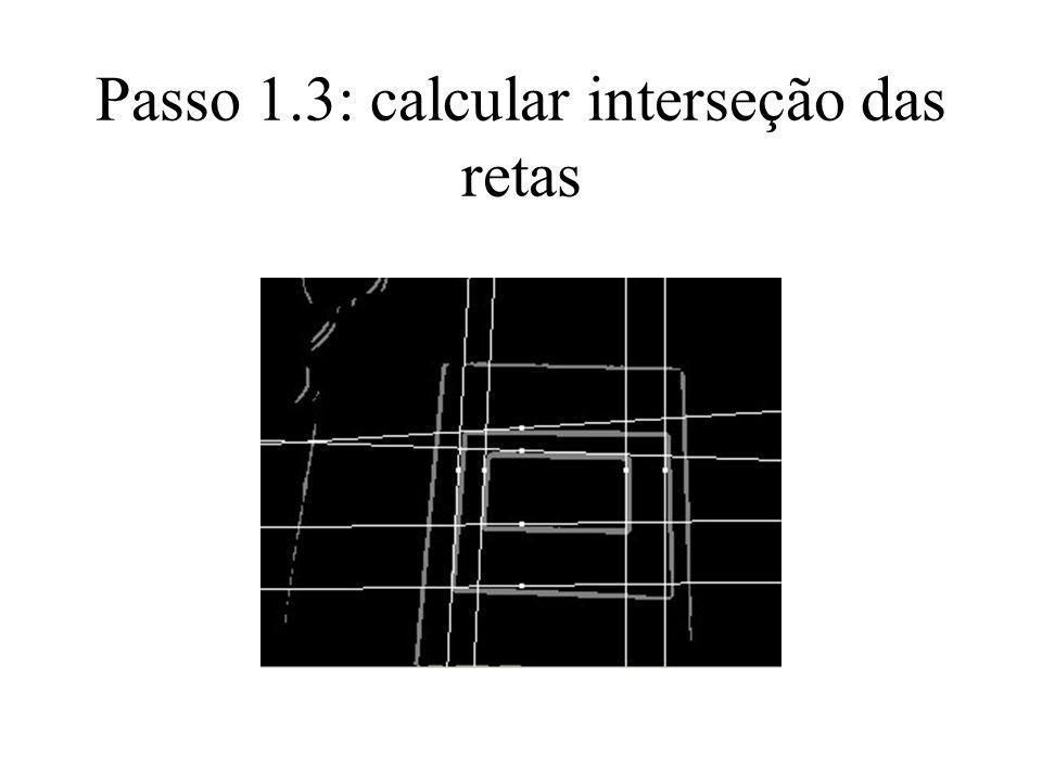 Passo 1.4: a partir da interseção das retas, localizar cantos