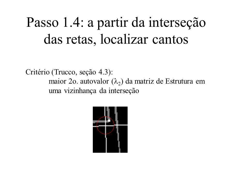 Critério (Trucco, seção 4.3): maior 2o. autovalor ( 2 ) da matriz de Estrutura em uma vizinhança da interseção