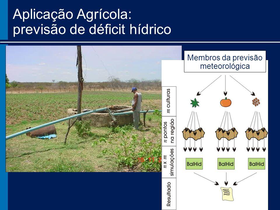 Membros da previsão meteorológica Aplicação Agrícola: previsão de déficit hídrico