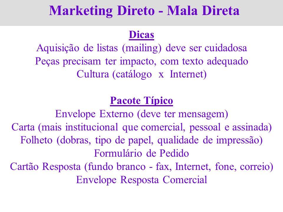 Marketing Direto - Mala Direta Dicas Aquisição de listas (mailing) deve ser cuidadosa Peças precisam ter impacto, com texto adequado Cultura (catálogo