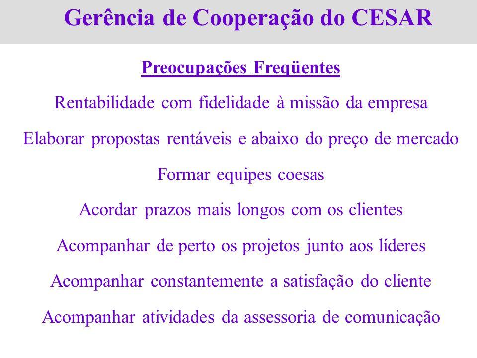 Gerência de Cooperação do CESAR Preocupações Freqüentes Rentabilidade com fidelidade à missão da empresa Elaborar propostas rentáveis e abaixo do preç