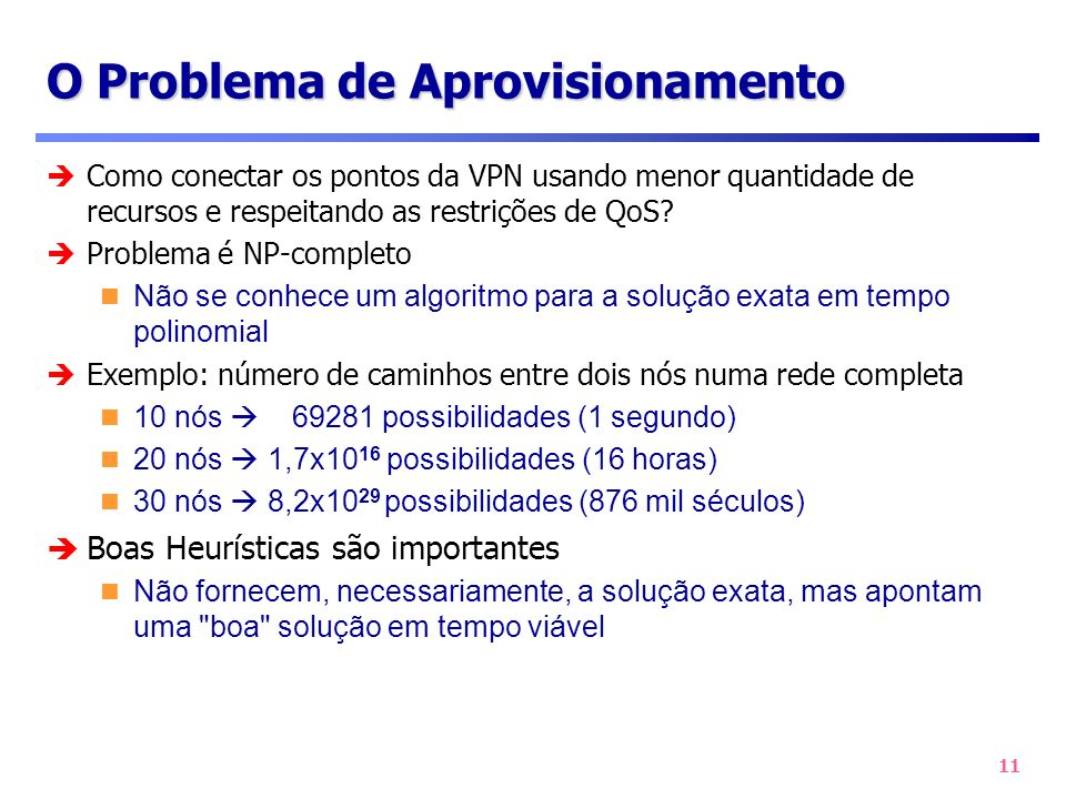 11 O Problema de Aprovisionamento Como conectar os pontos da VPN usando menor quantidade de recursos e respeitando as restrições de QoS? Problema é NP