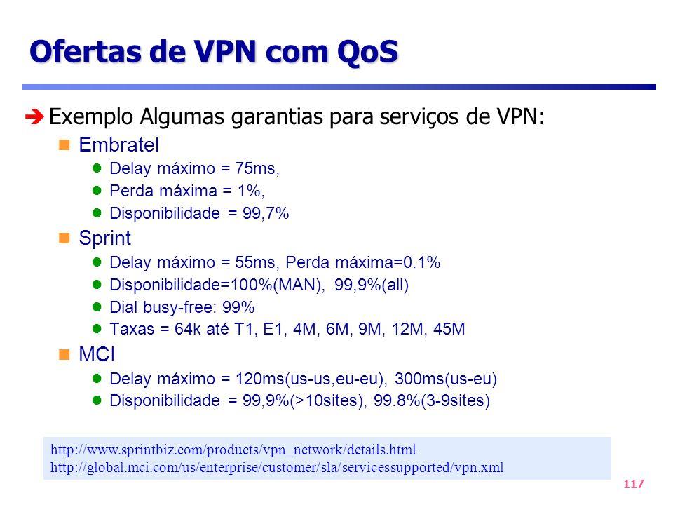 117 Ofertas de VPN com QoS Exemplo Algumas garantias para serviços de VPN: Embratel Delay máximo = 75ms, Perda máxima = 1%, Disponibilidade = 99,7% Sp