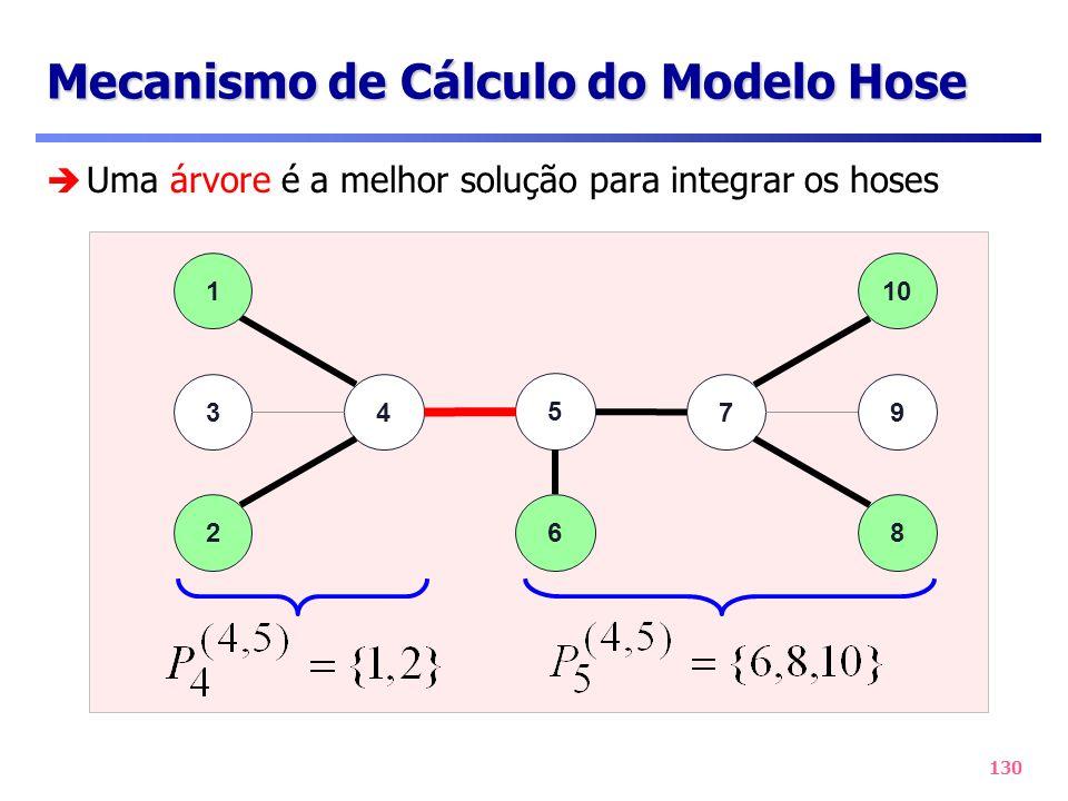 130 Mecanismo de Cálculo do Modelo Hose 47 2 1 3 10 9 8 5 6 Uma árvore é a melhor solução para integrar os hoses