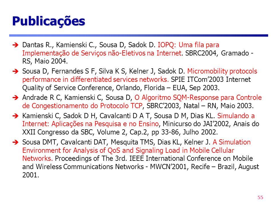 55 Publicações Dantas R., Kamienski C., Sousa D, Sadok D. IOPQ: Uma fila para Implementação de Serviços não-Eletivos na Internet. SBRC2004, Gramado -