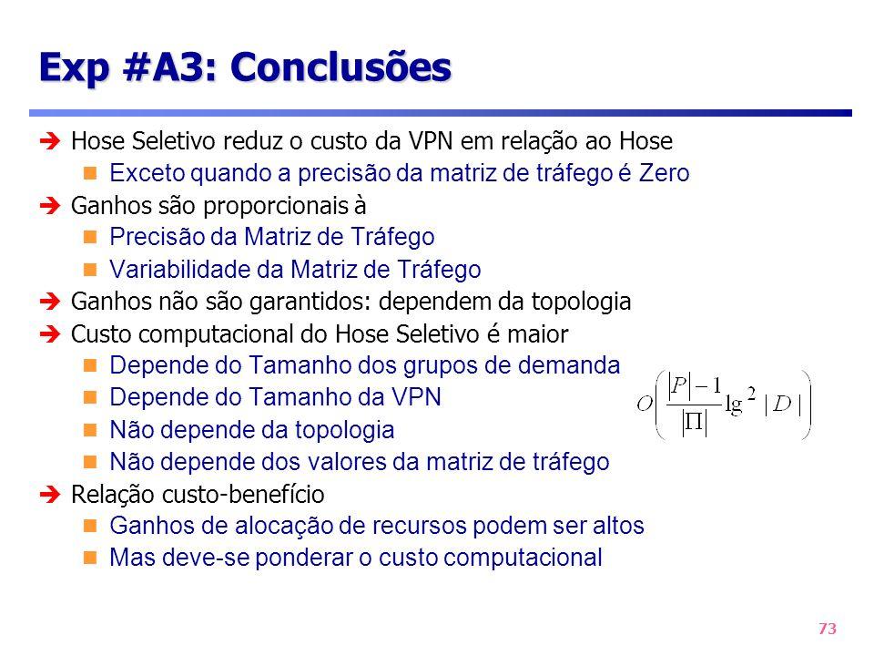 73 Exp #A3: Conclusões Hose Seletivo reduz o custo da VPN em relação ao Hose Exceto quando a precisão da matriz de tráfego é Zero Ganhos são proporcio