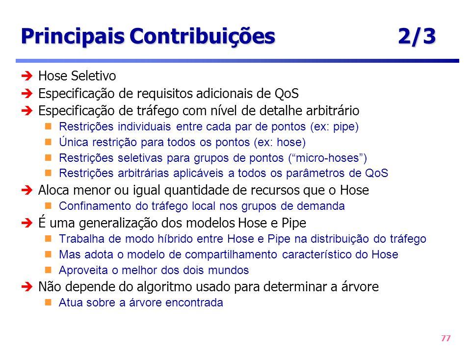 77 Principais Contribuições2/3 Hose Seletivo Especificação de requisitos adicionais de QoS Especificação de tráfego com nível de detalhe arbitrário Re