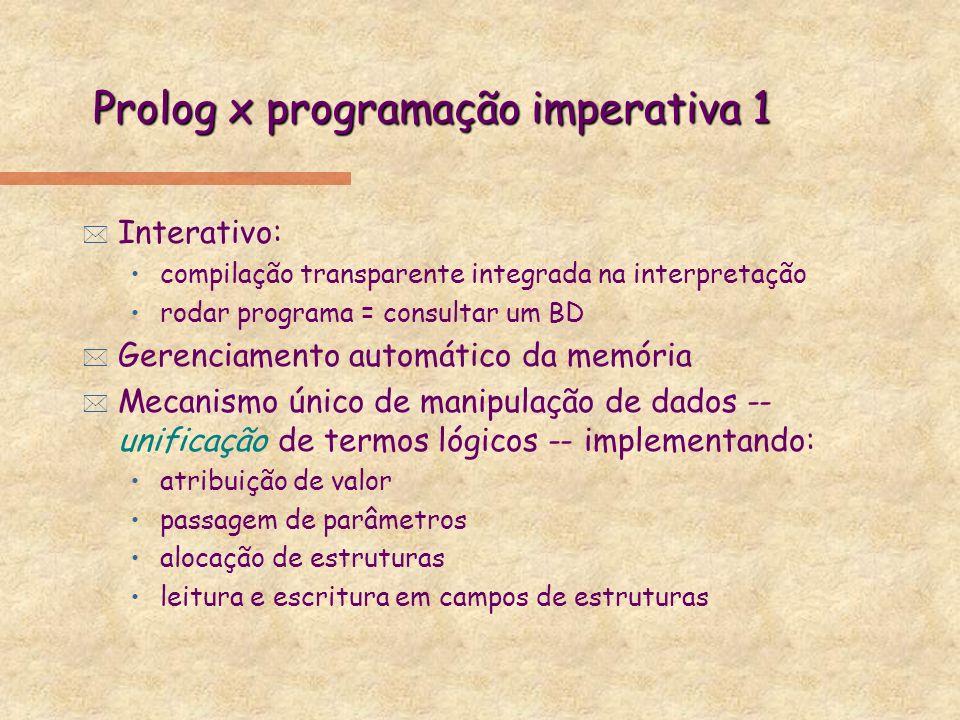 Prolog x programação imperativa 1 * Interativo: compilação transparente integrada na interpretação rodar programa = consultar um BD * Gerenciamento au