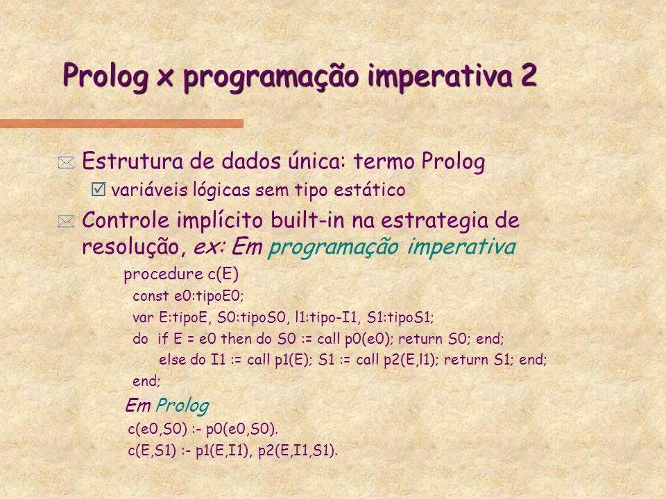 Prolog x programação imperativa 2 * Estrutura de dados única: termo Prolog þvariáveis lógicas sem tipo estático * Controle implícito built-in na estra
