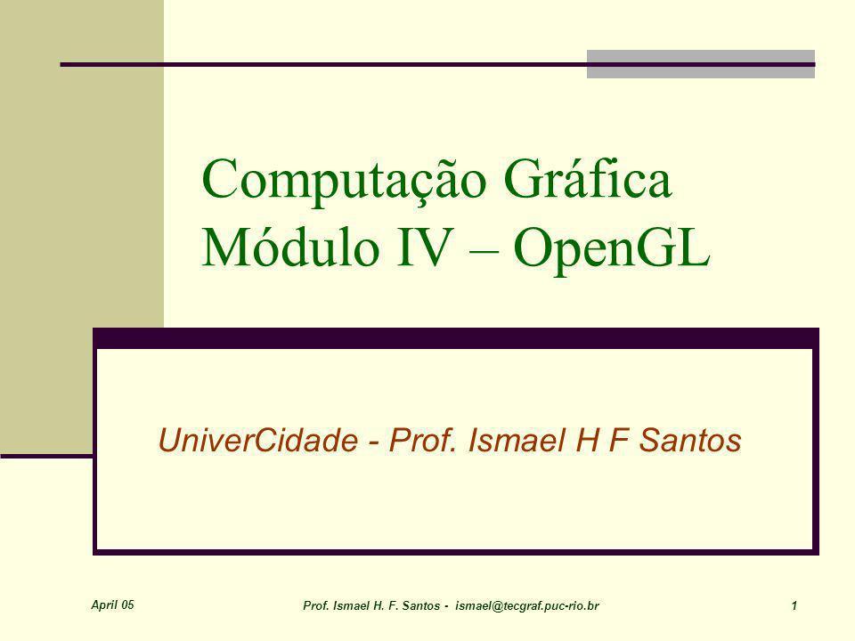 April 05 Prof. Ismael H. F. Santos - ismael@tecgraf.puc-rio.br 1 Computação Gráfica Módulo IV – OpenGL UniverCidade - Prof. Ismael H F Santos