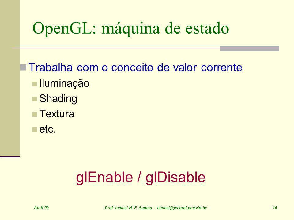 April 05 Prof. Ismael H. F. Santos - ismael@tecgraf.puc-rio.br 16 OpenGL: máquina de estado Trabalha com o conceito de valor corrente Iluminação Shadi