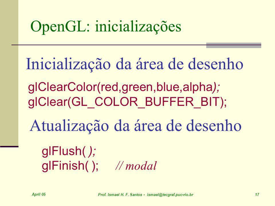 April 05 Prof. Ismael H. F. Santos - ismael@tecgraf.puc-rio.br 17 Inicialização da área de desenho glClearColor(red,green,blue,alpha); glClear(GL_COLO