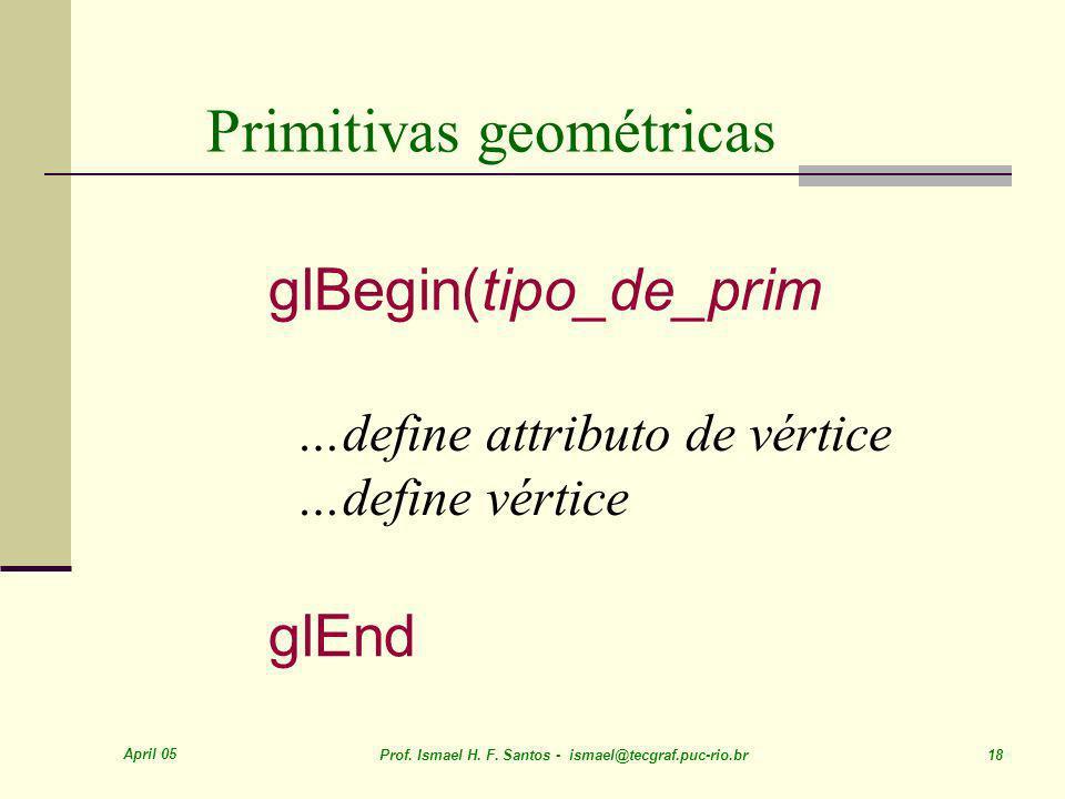 April 05 Prof. Ismael H. F. Santos - ismael@tecgraf.puc-rio.br 18 Primitivas geométricas …define attributo de vértice …define vértice glBegin(tipo_de_
