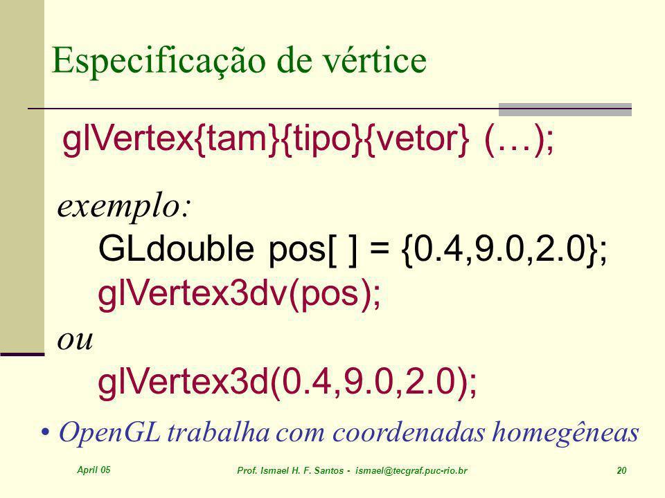 April 05 Prof. Ismael H. F. Santos - ismael@tecgraf.puc-rio.br 20 Especificação de vértice glVertex{tam}{tipo}{vetor} (…); exemplo: GLdouble pos[ ] =