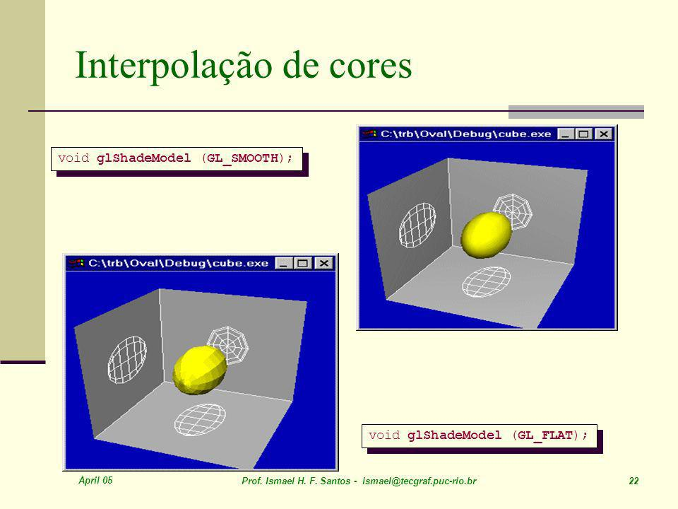 April 05 Prof. Ismael H. F. Santos - ismael@tecgraf.puc-rio.br 22 Interpolação de cores void glShadeModel (GL_SMOOTH); void glShadeModel (GL_FLAT);