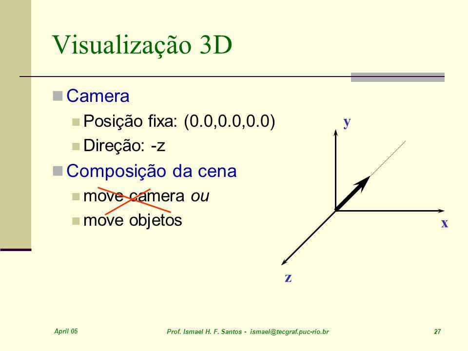 April 05 Prof. Ismael H. F. Santos - ismael@tecgraf.puc-rio.br 27 Visualização 3D Camera Posição fixa: (0.0,0.0,0.0) Direção: -z Composição da cena mo