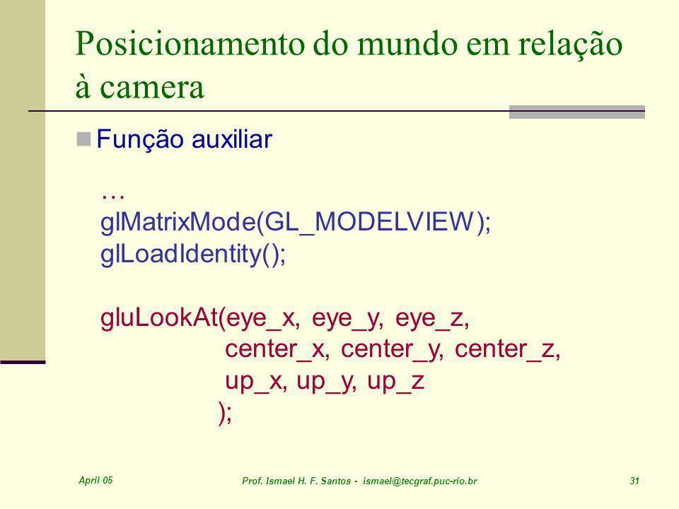 April 05 Prof. Ismael H. F. Santos - ismael@tecgraf.puc-rio.br 31 Posicionamento do mundo em relação à camera Função auxiliar … glMatrixMode(GL_MODELV