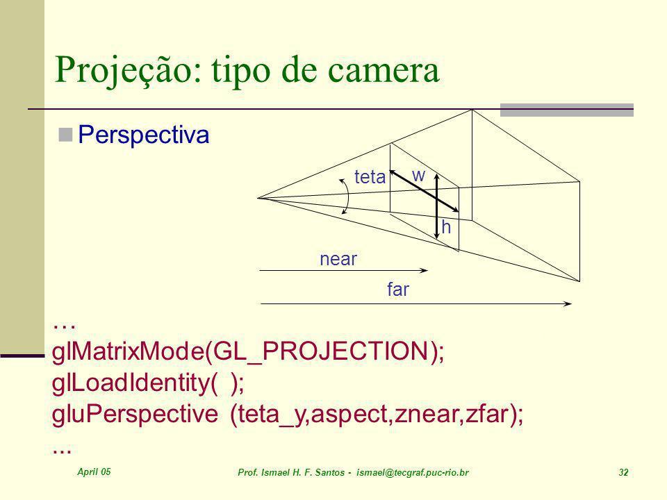 April 05 Prof. Ismael H. F. Santos - ismael@tecgraf.puc-rio.br 32 Projeção: tipo de camera Perspectiva w h near far … glMatrixMode(GL_PROJECTION); glL