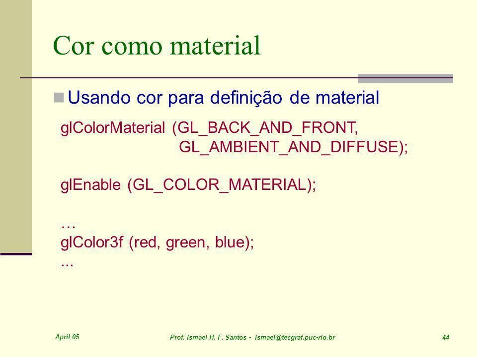 April 05 Prof. Ismael H. F. Santos - ismael@tecgraf.puc-rio.br 44 Cor como material Usando cor para definição de material glColorMaterial (GL_BACK_AND